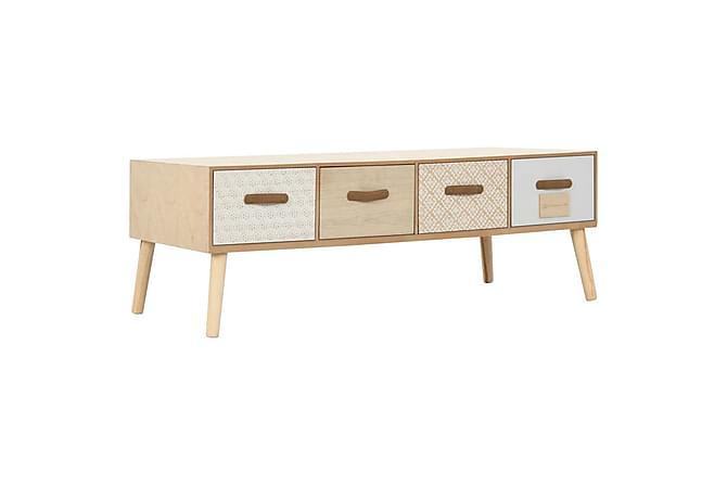 Soffbord med 4 lådor 110x50x40 cm massiv furu - Brun - Utemöbler - Utebord - Soffbord