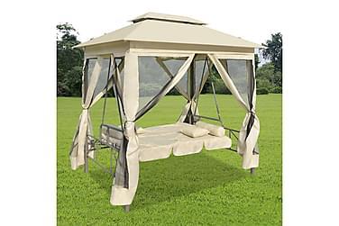 Paviljong med hammock gräddvit