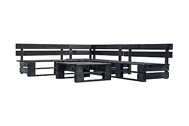 Pallsoffa 4 delar FSC-trä svart