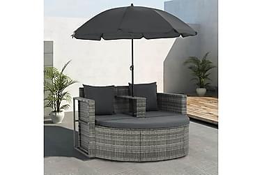 Trädgårdssoffa med parasoll 2-sits konstrotting grå