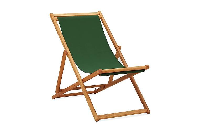 Hopfällbar strandstol eukalyptusträ och tyg grön - Grön - Utemöbler - Stolar & Fåtöljer ute - Brassestolar & campingstolar