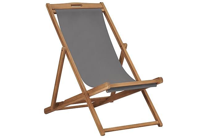 Hopfällbar strandstol massiv teak grå - Grå - Utemöbler - Stolar & Fåtöljer ute - Brassestolar & campingstolar