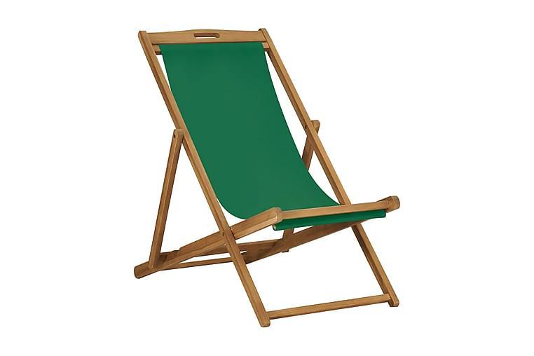 Hopfällbar strandstol massiv teak grön - Grön - Utemöbler - Stolar & Fåtöljer ute - Brassestolar & campingstolar