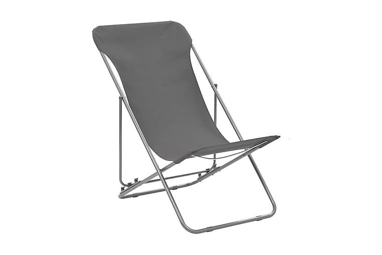 Hopfällbara strandstolar 2 st stål och oxfordtyg grå - Grå - Utemöbler - Stolar & Fåtöljer ute - Brassestolar & campingstolar