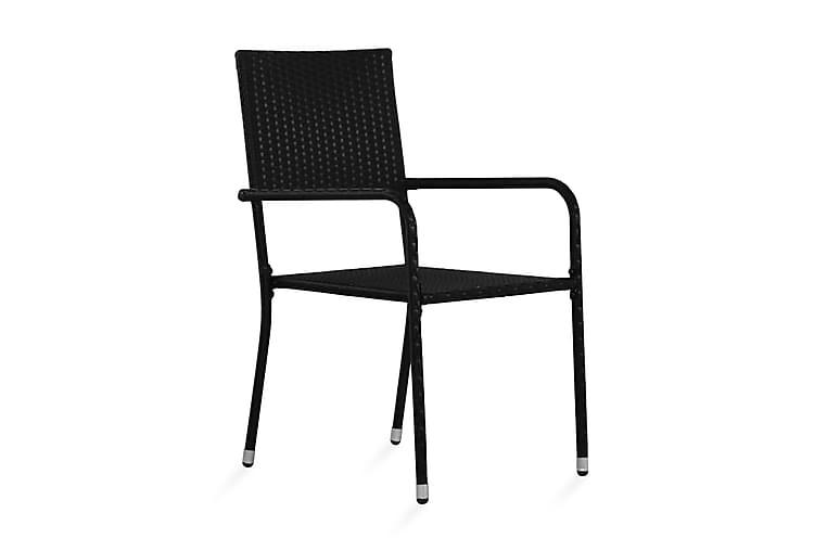 Matstol för trädgård 2 st konstrotting svart - Svart - Utemöbler - Stolar & Fåtöljer ute - Karmstolar utomhus