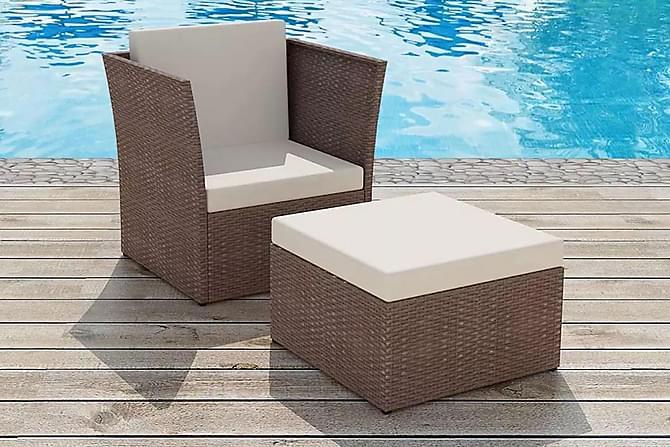 Trädgårdsstol med pall konstrotting brun - Brun - Utemöbler - Stolar & Fåtöljer ute - Utefåtöljer