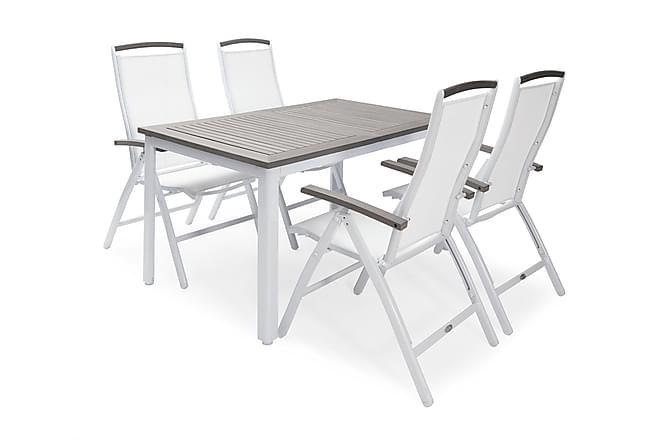 Hillerstorp Nydala Positionsstol - Vit/Grå - Utemöbler - Stolar & Fåtöljer ute - Matstolar