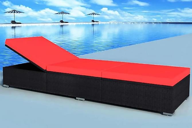 Solsäng med dyna konstrotting svart - Svart Röd - Utemöbler - Stolar & Fåtöljer ute - Solstolar